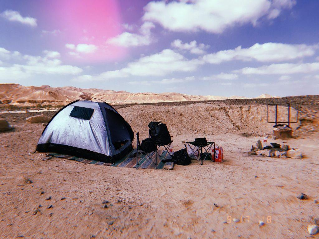 camping-setup-tent-chairs-desert