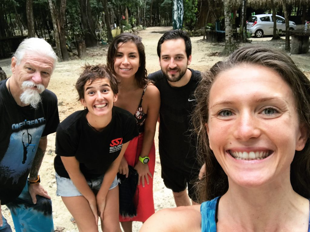 group-selfie-three-women-two-men-smiling