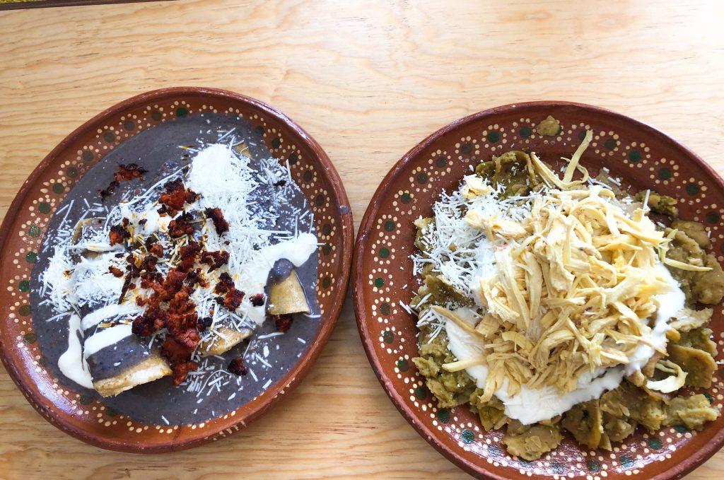 enfrijoladas and chilquiles con pollo mexico city
