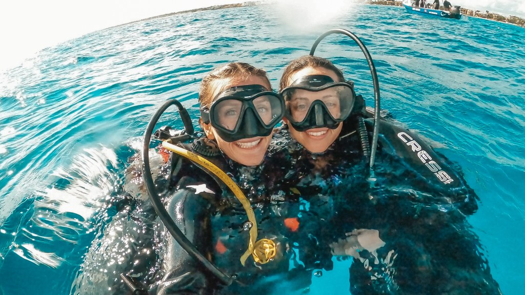 two women after scuba diving in mexico