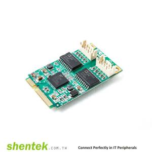2 port Serial RS-232 Mini PCI Express(Mini PCIe) card + 2.5KV Isolation Protection