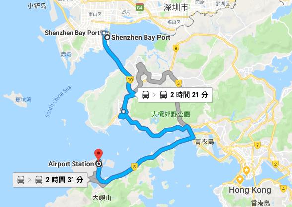 深セン湾国境から香港空港のルート