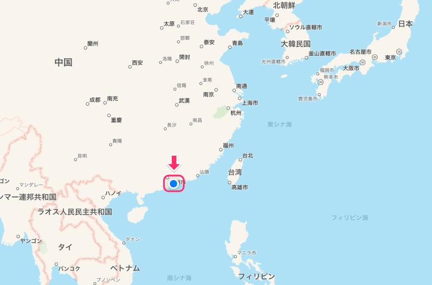 アジアから見た深センの位置
