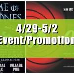 深センイベント/プロモーション情報!(4/29-5/2) 労働節/GAME OF THRONES/James Bond Nightなど!