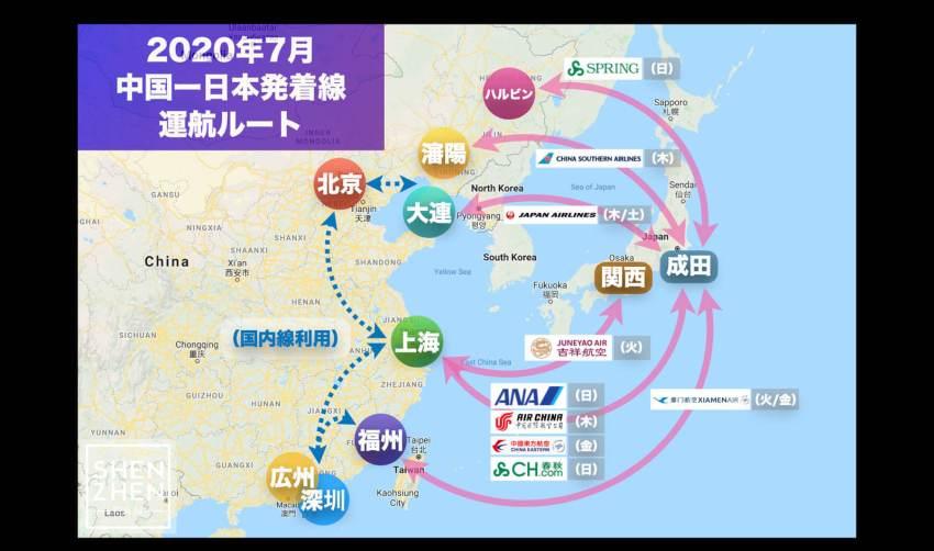(7/8 更新)【2020年7月版】中国発着 国際便運航スケジュール・発着ルート