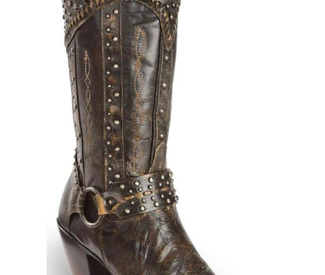Dan Post Womens Sexy Back Studded Fashion Western Boots Round Toe Black Hi