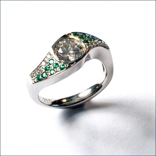 emeralds, diamonds and 18ct white gold