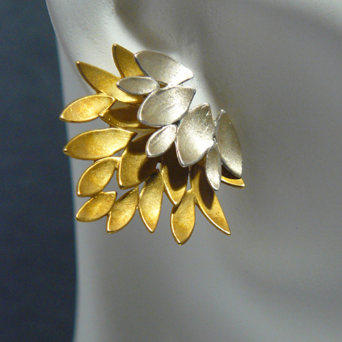 925 and gold plate Flaming Lotus earrings