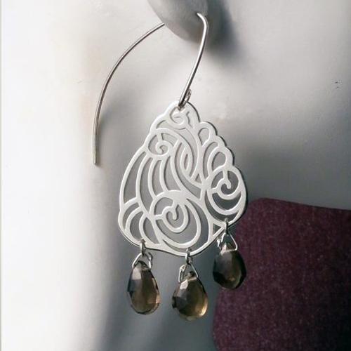 Swirling Cloud earrings with smokey quartz
