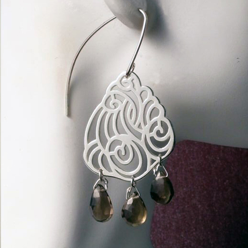 Swirling Cloud earrings with smokey quartz