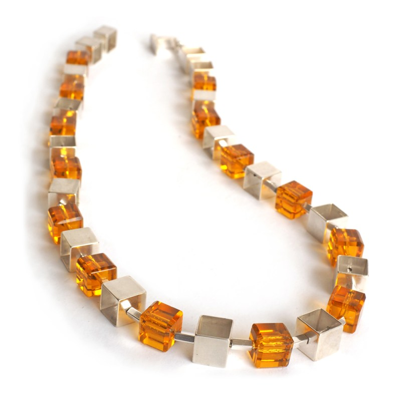 Citrine and Silver Cube chain