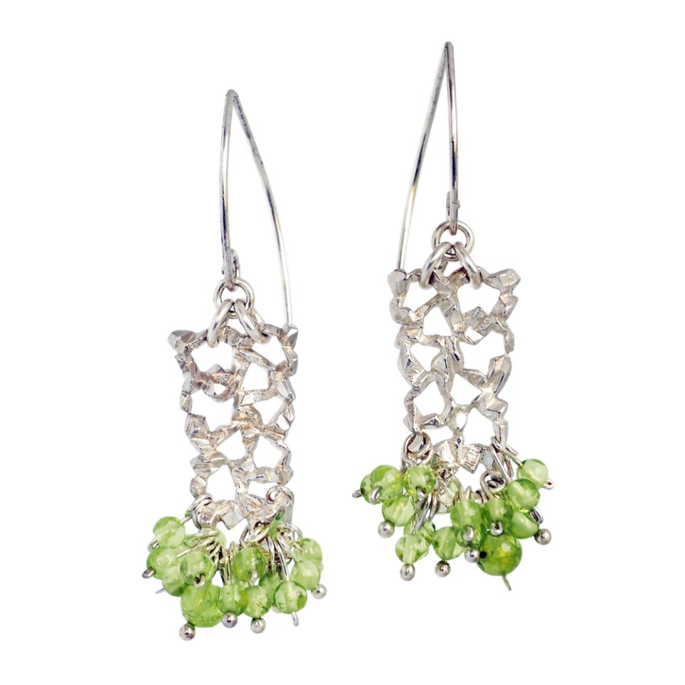 Sterling silver Lace earrings with peridot