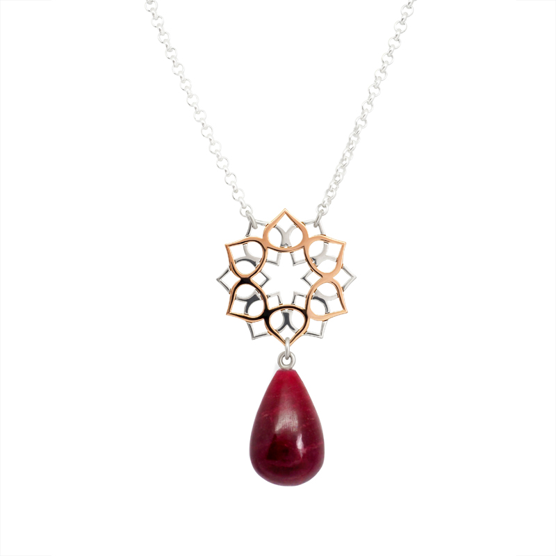 Lotus Flower necklace with ruby