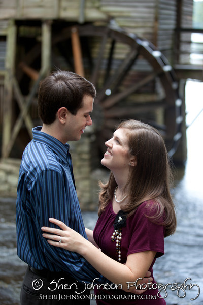Amanda and Steven engagement photo at Stone Mountain Park at the Grist Mill