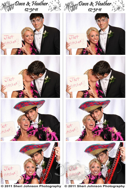 The bride and groom in the photo booth