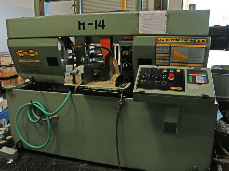 A cutoff saw is used to bring material down to production length.