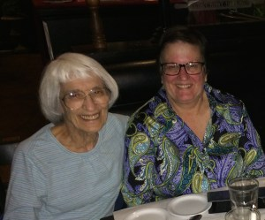 Bernice Sandler (left) and Diane Milutinovich in Fresno, November 2014.