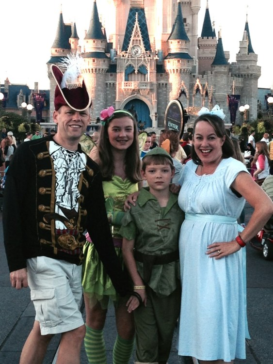 My family plays dress up as Peter Pan inspired characters during 2013 Mickey's Not So Scary Halloween Party.