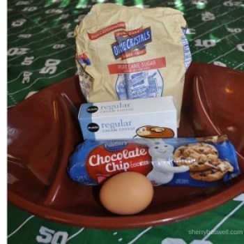 Super recipes for a Super Bowl Party | Chocolate Chip Cheesecake Bar ingredients all laid out like the plays coaches are drawing up for the Super Bowl