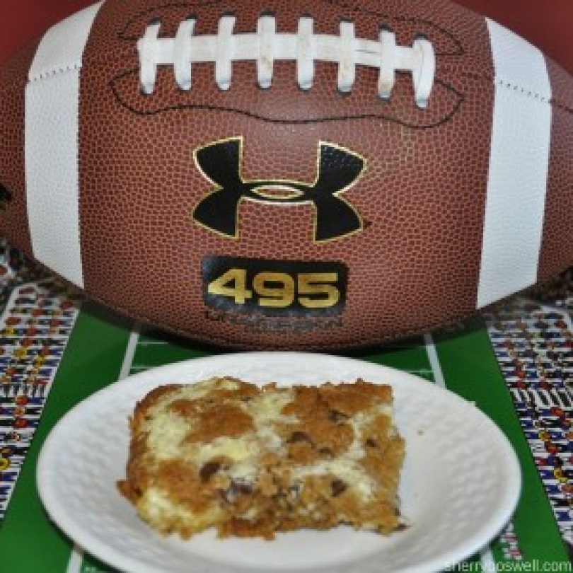 Super recipes for a Super Bowl Party | The finished product of chocolate chip cheesecake bars