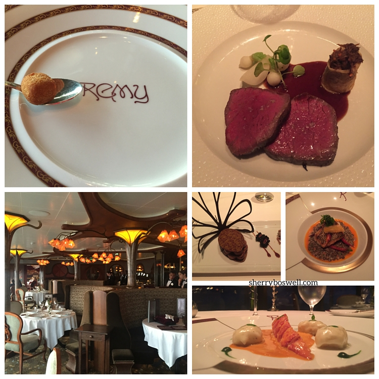 Disney Cruise advice | On the Disney Fantasy, eat all the dishes at Remy dishes like Kobe beef, lobster, scallops, and of course, dessert!