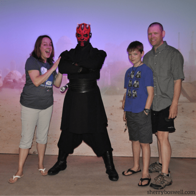 Star Wars Disney Cruise | A Disney Cruise with Star Wars Day at Sea has character interactions like this one with Darth Maul, who is all work and no play!