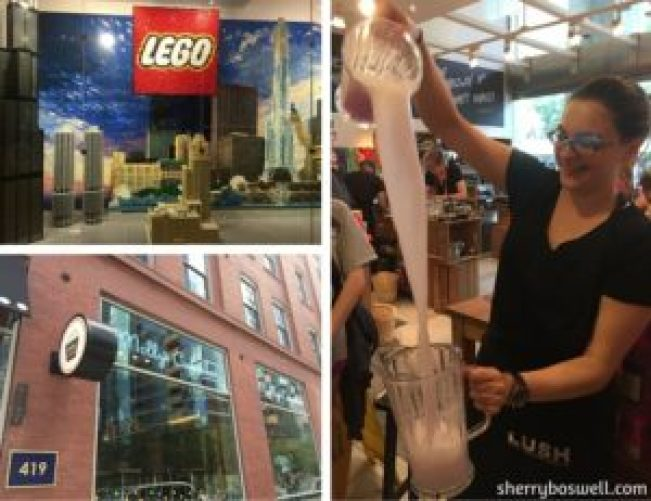 The Lego Store, Lush, and Molly's Cupcakes in Chicago