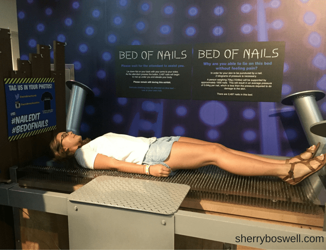 Myrtle Beach Family Fun | Fun in and out of the waves included a bed of nails at WonderWorks Myrtle Beach.