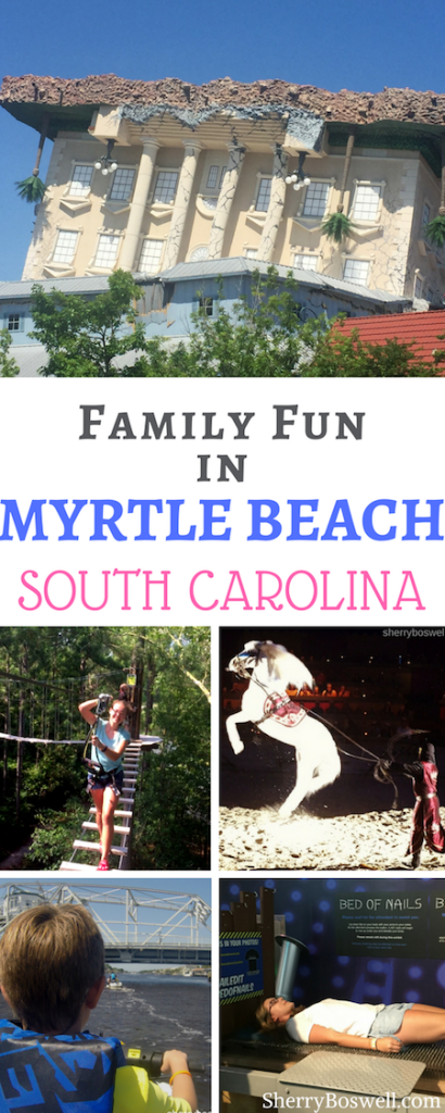 Family fun in Myrtle Beach? Count on it! From ziplining to jet skiing with dolphins, horses and knights to an upside down museum with a bed of nails, kids and adults will have plenty to do at this Southern beach hotspot. Go beyond the beach and try these for a jam-packed vacation. #hosted #MyrtleBeach #familyfun #SouthCarolina