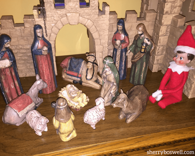 Nativity poses are one of many of our go to Elf on the Shelf ideas for older kids.