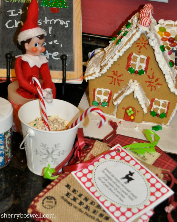 Our Elf on the Shelf gets into the act of mixing reindeer food and seems to have this holiday recipe downpat.