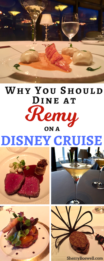 Disney Cruise dining | I love to Remy-nisce about our Disney cruise dining experience at Remy, one of two adults- only fine dining restaurants on the Disney Dream and Disney Fantasy. Sharing what to eat, drink and savor about Remy and why it's a must do for grownups on Disney Cruise Line.