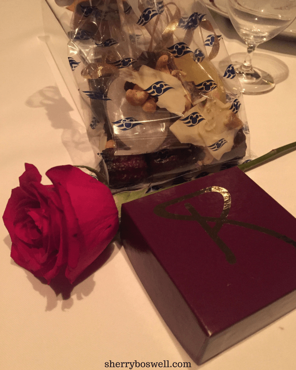 dine at Remy on your Disney cruise Rose and chocolates Remy