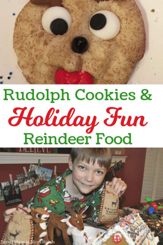Spice up the holidays with snickerdoodle cookies inspired by Rudolph the Red-Nosed Reindeer. Rudolph cookies for the holiday win! Then make our easy Reindeer food to give as gifts to friends and neighbors to sprinkle on the lawn for Santa's team.#rudolph #rudolphcookies #reindeerfood #holiday #recipes #familyfun #holidays