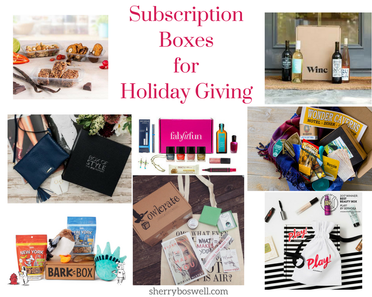 Subscription Boxes for Holiday Giving include an assortment of beauty, food, wine, accessories, and unique finds. From boxes for pets to shaving kits, we have something for everyone in the family.