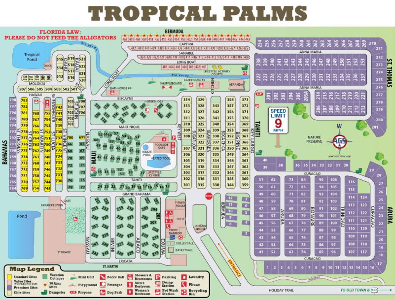 Tropical Palms Resort map kept me from getting lost at this 69 acre property.