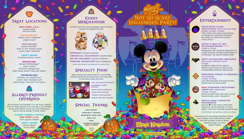 The map for Mickey's Not So Scary Halloween Party: get ready by studying up.