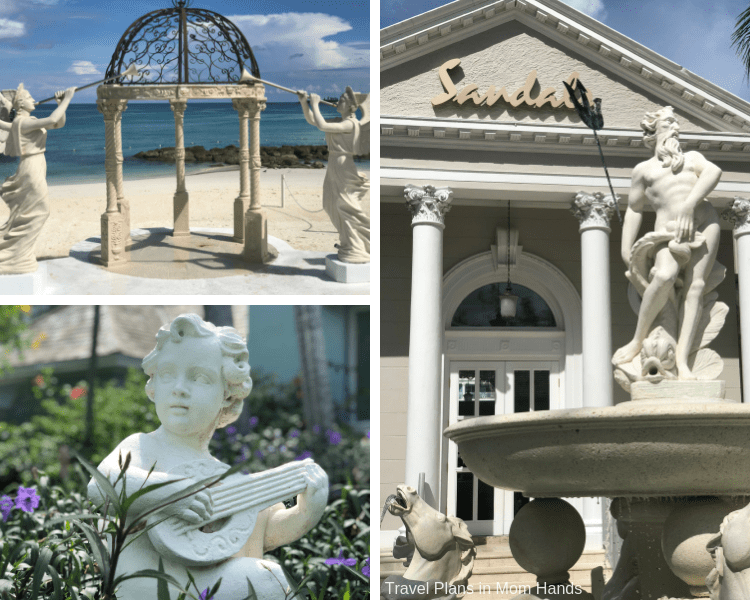 Roman columns, statues and gazebos adorn the Sandals Royal Bahamian in Nassau, Bahamas.