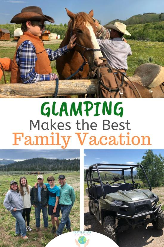 "Our family of ""City Slickers"" gave it a try at Goosewing Ranch in Jackson Hole, Wyoming, and now we're hooked on this adventurous, outdoorsy, and family-centric experience. Think dude ranch meets Laura Ingalls Wilder: sleeping in covered wagons, having a private chef for campfire meals, and riding with a real life cowboy. Easily one of our best family vacations of all time! Learn all about glamping and what makes a glamping vacation at Goosewing Ranch so special. #glamping #duderanch #familyvacation #coveredwagons #glampingvacation #JacksonHole #Wyoming"