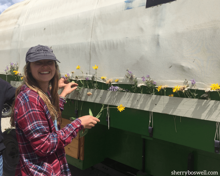 "Our ""hippie"" girl decorated our wrangler's wagon with flowers, making it a memorable glamping vacation."