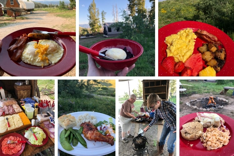 One reason why glamping makes the best family vacation: the food is wonderful as you can see from our food collage!