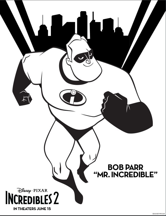 Disney Pixar's Incredibles 2 Bob Parr Coloring Page