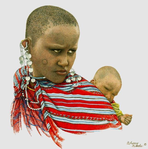 Sherry Steele Artwork - Heart of a Lioness   Maasai Woman