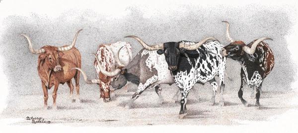 Sherry Steele Artwork - Legends of the West   Longhorns