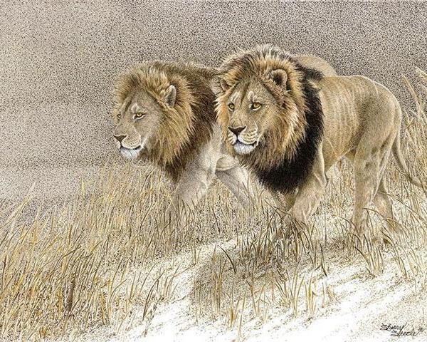Sherry Steele Artwork - Power Brokers | Lions