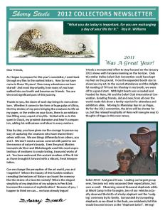 2012 Sherry Steele Newsletter
