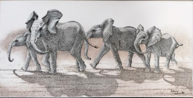 Elephants Mischief Brewing Sherry Steele Artwork African Animals