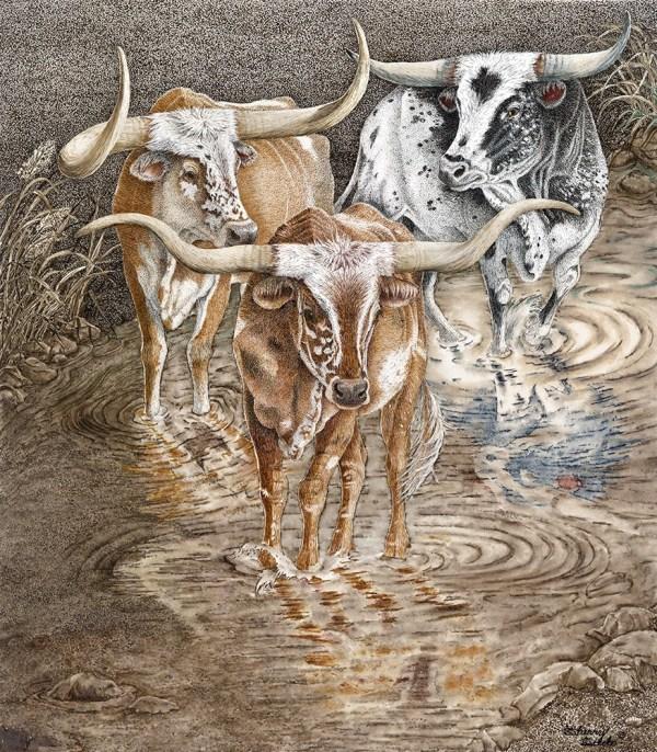 Red River Crossing Texas Longhorns Artwork by Sherry Steele