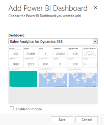 Add Power BI Dashboard
