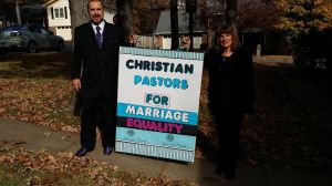 Pastor Randy Eddy-McCain and Pastor Sheryl Myers on the way to 11/19/2014 counter demonstration for Marriage Equality